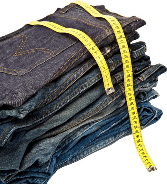 denim jeans with tape measure