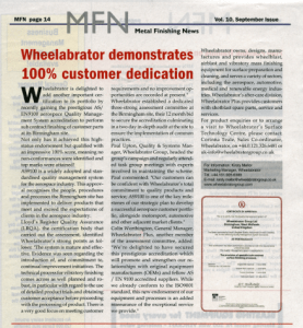metal finishing news covers Wheelabrator