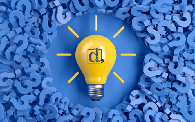 Graphic for Mastering Marketing series a light bulb