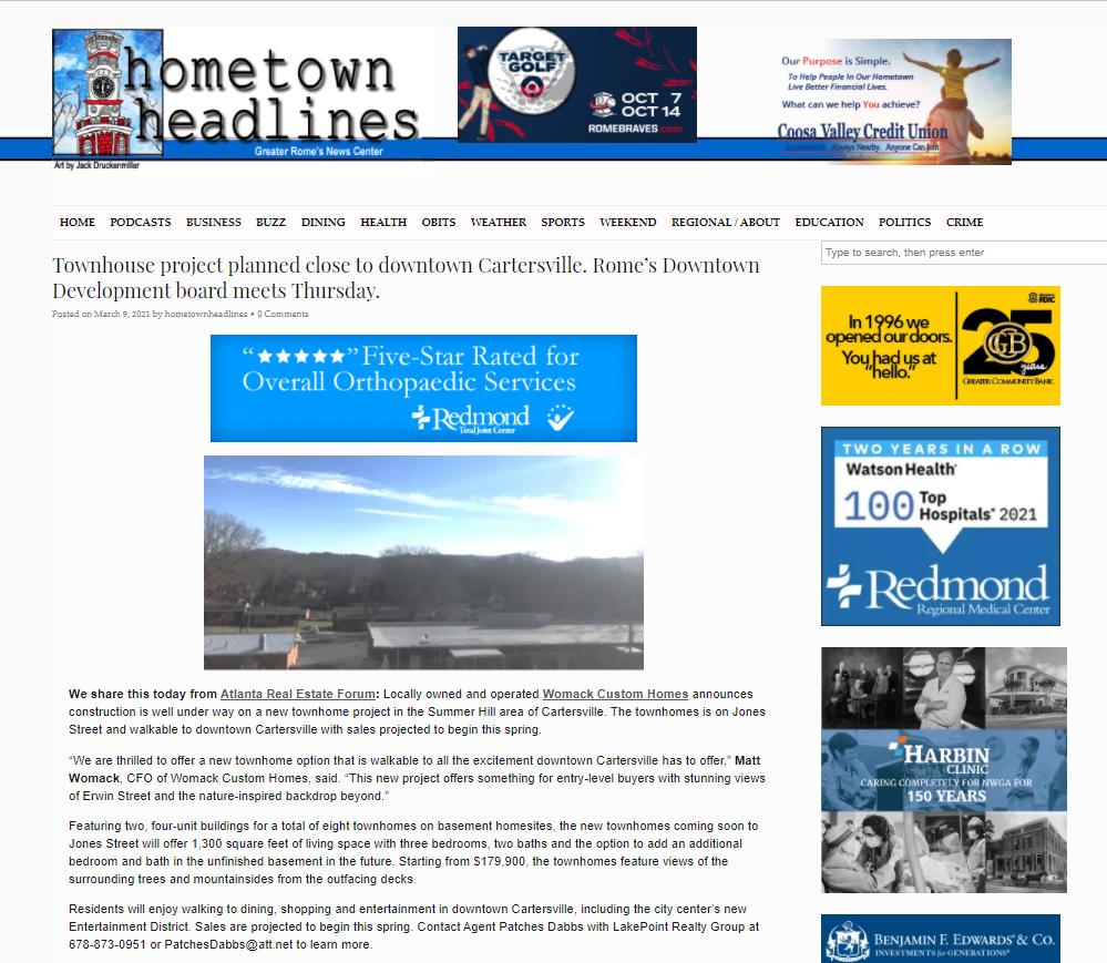 Hometown Headlines PR Score for Womack Custom Homes